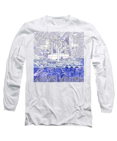 Washington Dc Skyline Abstract 3 Long Sleeve T-Shirt by Bekim Art