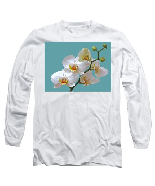 White Orchids On Ocean Blue Long Sleeve T-Shirt by Gill Billington