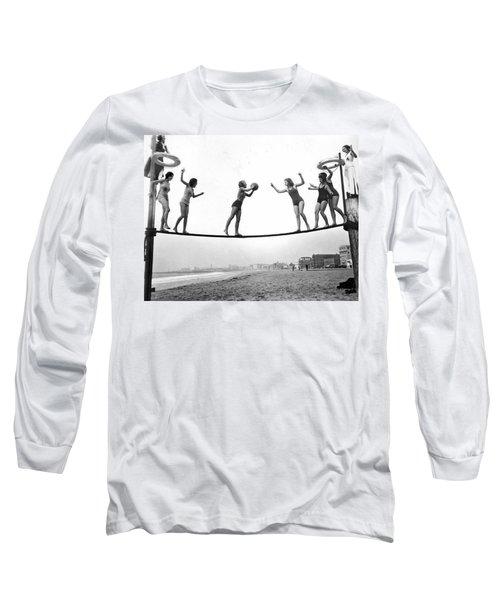 Women Play Beach Basketball Long Sleeve T-Shirt by Underwood Archives