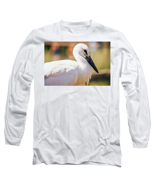 Young Stork Portrait Long Sleeve T-Shirt by Pati Photography