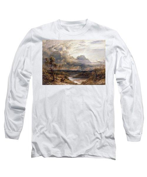 Sun Behind Clouds Long Sleeve T-Shirt by John Linnell