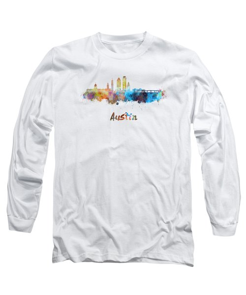 Austin Skyline In Watercolor Long Sleeve T-Shirt by Pablo Romero