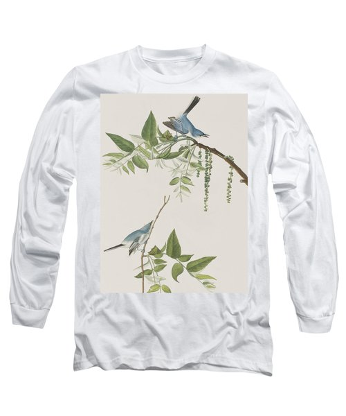 Blue Grey Flycatcher Long Sleeve T-Shirt by John James Audubon
