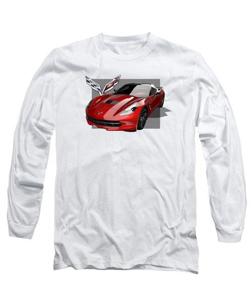 Chevrolet Corvette  C 7  Stingray With 3 D Badge  Long Sleeve T-Shirt by Serge Averbukh