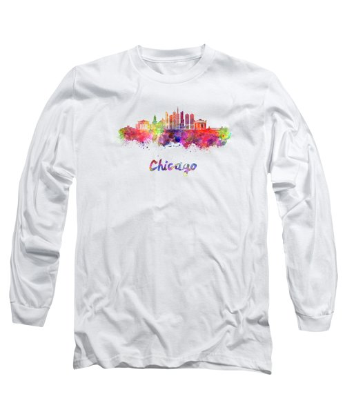 Chicago Skyline In Watercolor Long Sleeve T-Shirt by Pablo Romero