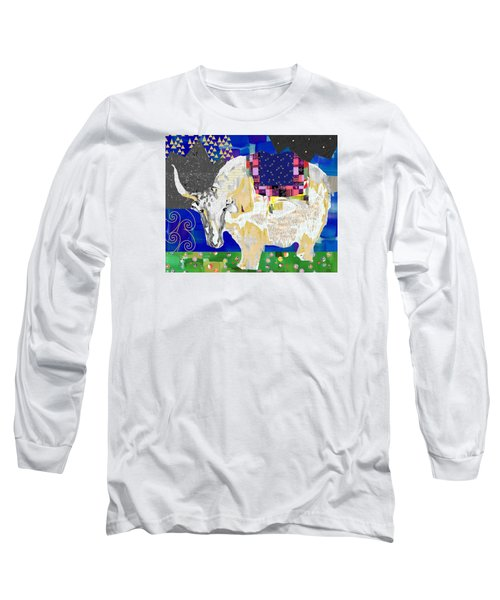 Stay Curious Cow Collage  Long Sleeve T-Shirt by Claudia Schoen