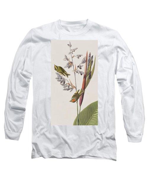 Golden-crested Wren Long Sleeve T-Shirt by John James Audubon