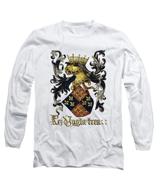 King Of England Coat Of Arms - Livro Do Armeiro-mor Long Sleeve T-Shirt by Serge Averbukh