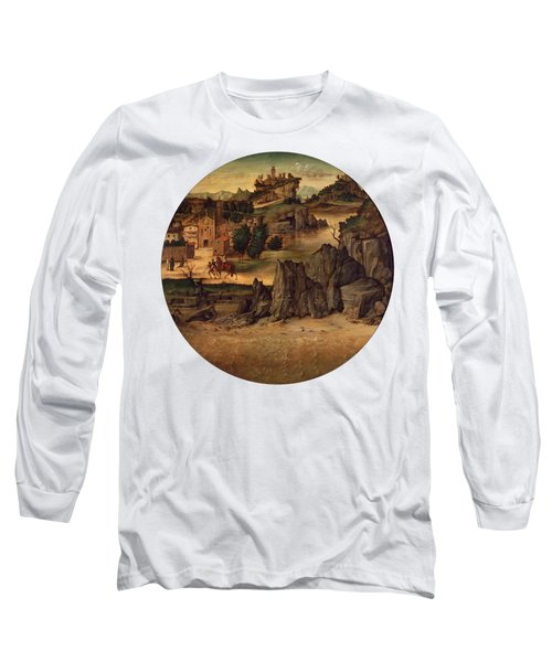 Landscape With Castles Long Sleeve T-Shirt by Bartolomeo Montagna