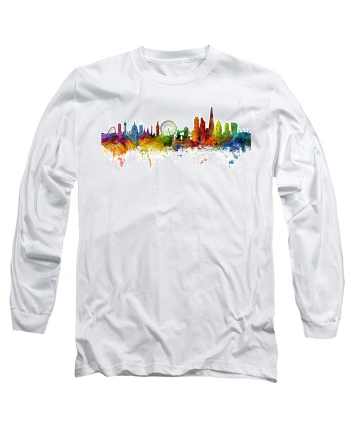 London England Skyline Panoramic Long Sleeve T-Shirt by Michael Tompsett