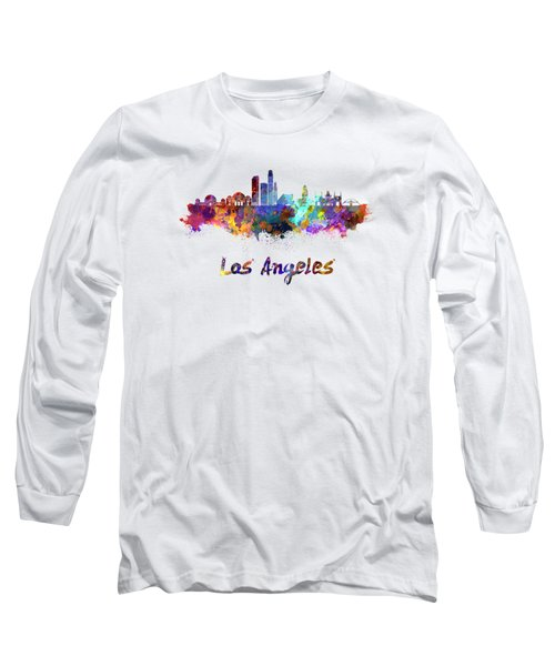 Los Angeles Skyline In Watercolor Long Sleeve T-Shirt by Pablo Romero