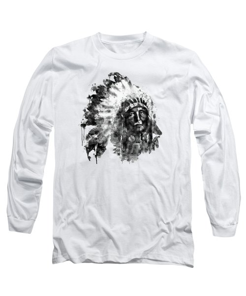 Native American Chief Long Sleeve T-Shirt by Marian Voicu