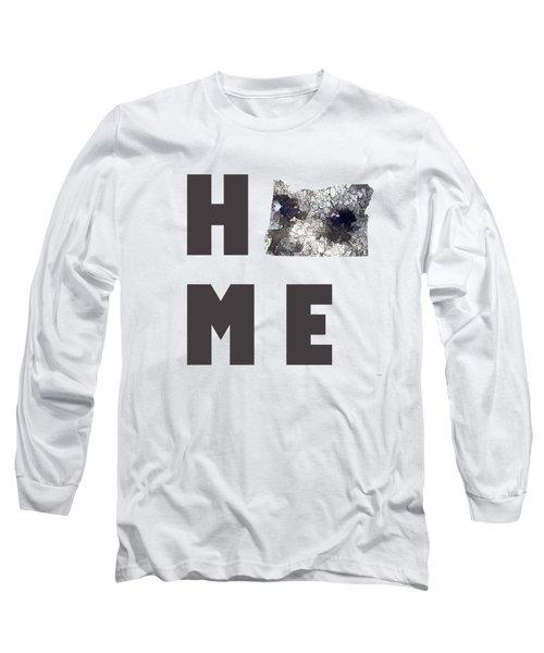 Oregon State Map Long Sleeve T-Shirt by Marlene Watson