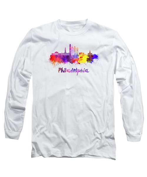 Philadelphia Skyline In Watercolor Long Sleeve T-Shirt by Pablo Romero