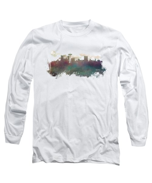 Seattle Washington Skyline Long Sleeve T-Shirt by Justyna JBJart