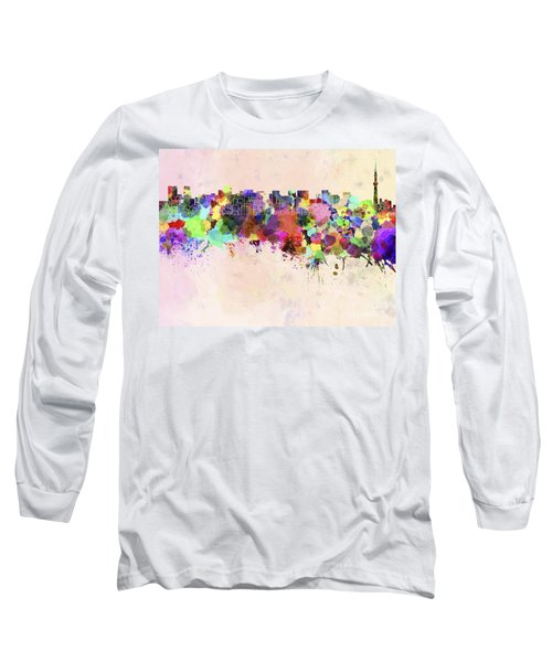 Tokyo Skyline In Watercolor Background Long Sleeve T-Shirt by Pablo Romero