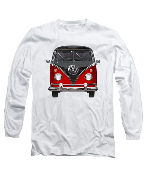 Volkswagen Type 2 - Red And Black Volkswagen T 1 Samba Bus On White  Long Sleeve T-Shirt by Serge Averbukh