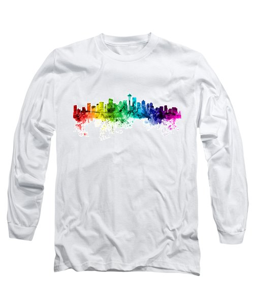 Seattle Washington Skyline Long Sleeve T-Shirt by Michael Tompsett