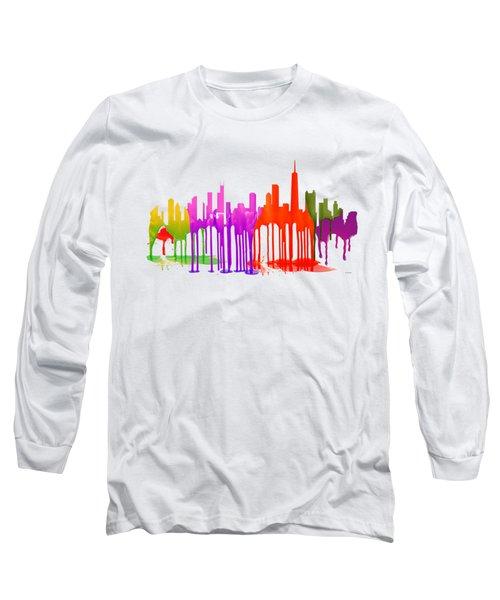 Chicago Illinois Skyline Long Sleeve T-Shirt by Marlene Watson