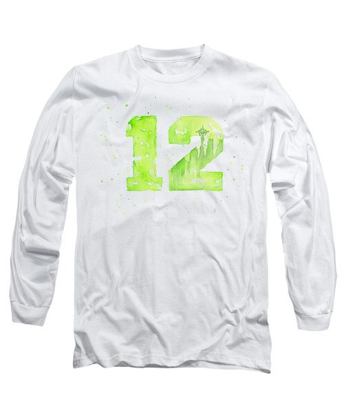 12th Man Seahawks Art Go Hawks Long Sleeve T-Shirt by Olga Shvartsur