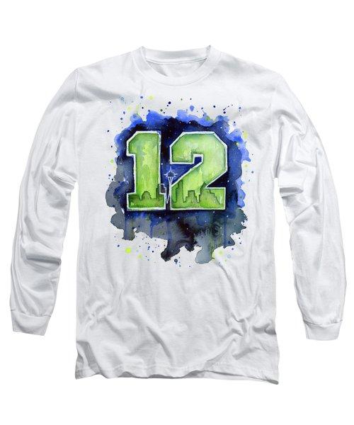 12th Man Seahawks Art Seattle Go Hawks Long Sleeve T-Shirt by Olga Shvartsur