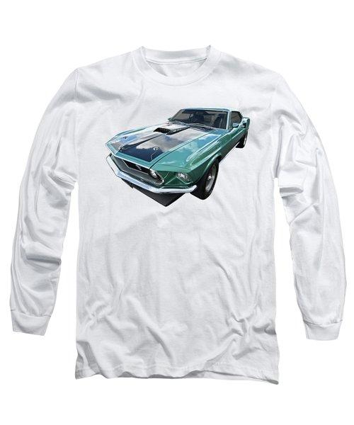 1969 Green 428 Mach 1 Cobra Jet Ford Mustang Long Sleeve T-Shirt by Gill Billington