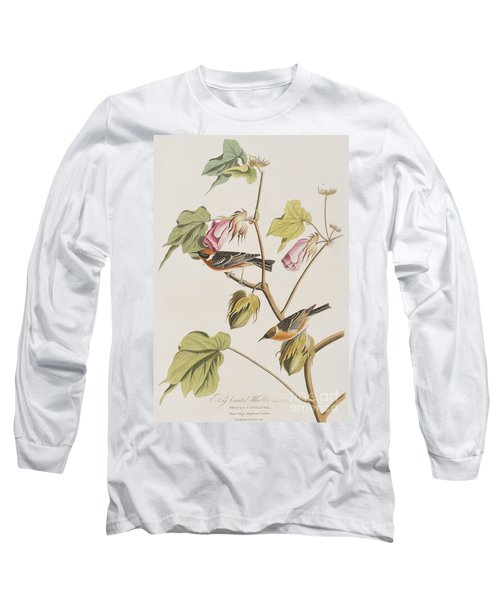 Bay Breasted Warbler Long Sleeve T-Shirt by John James Audubon