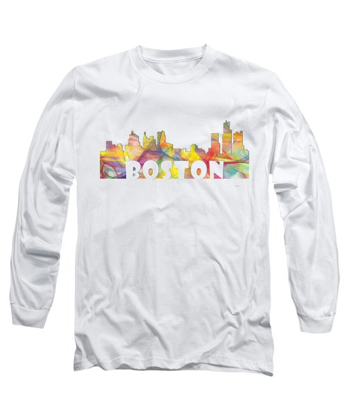 Boston Massachusetts Skyline Long Sleeve T-Shirt by Marlene Watson