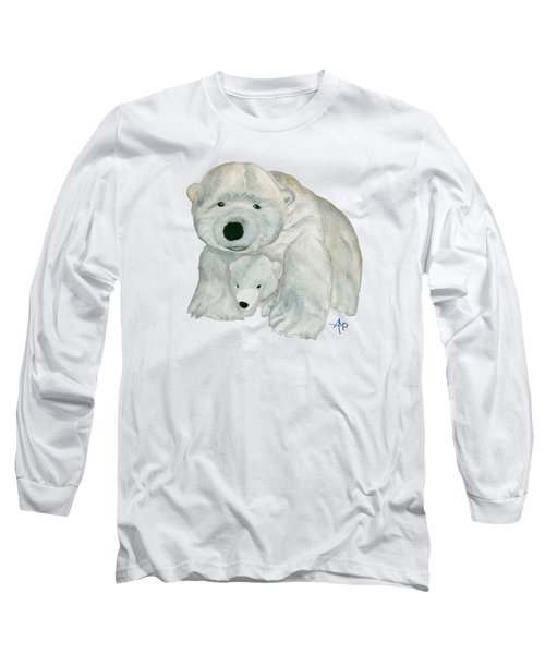 Cuddly Polar Bear Long Sleeve T-Shirt by Angeles M Pomata