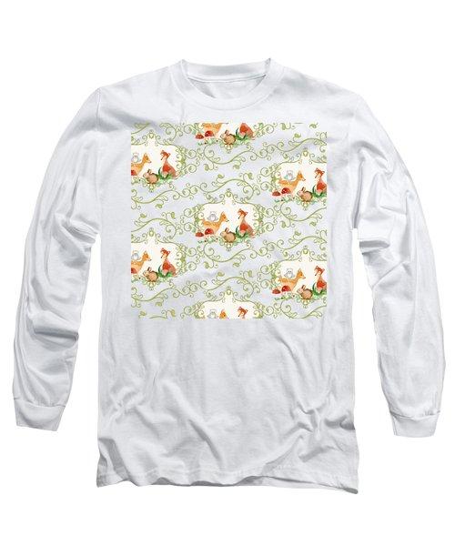 Woodland Fairytale - Animals Deer Owl Fox Bunny N Mushrooms Long Sleeve T-Shirt by Audrey Jeanne Roberts