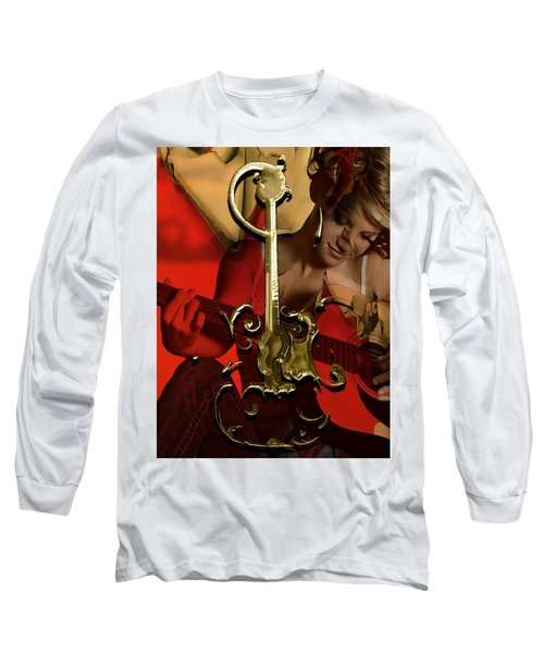 Acoustic Guitar Music Collection Long Sleeve T-Shirt by Marvin Blaine