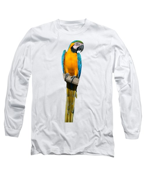 Blue And Gold Macaw Long Sleeve T-Shirt by George Atsametakis