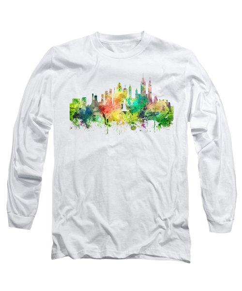 New York Skyline Long Sleeve T-Shirt by Marlene Watson
