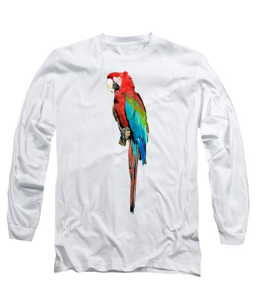 Red And Green Macaw Long Sleeve T-Shirt by George Atsametakis