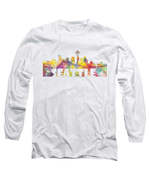 Seattle Washington Skyline Long Sleeve T-Shirt by Marlene Watson