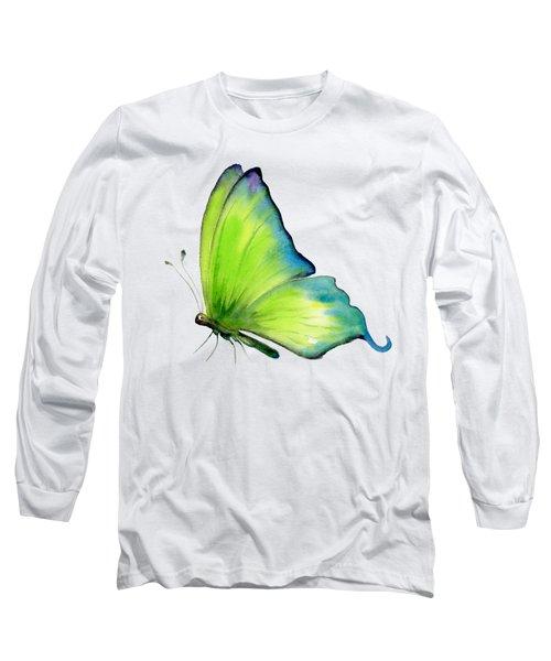 4 Skip Green Butterfly Long Sleeve T-Shirt by Amy Kirkpatrick