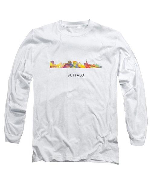 Buffalo New York Skyline Long Sleeve T-Shirt by Marlene Watson