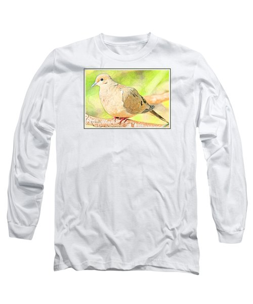 Long Sleeve T-Shirt featuring the digital art Mourning Dove Animal Portrait by A Gurmankin