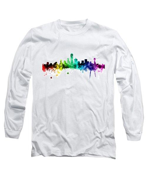 Dallas Texas Skyline Long Sleeve T-Shirt by Michael Tompsett