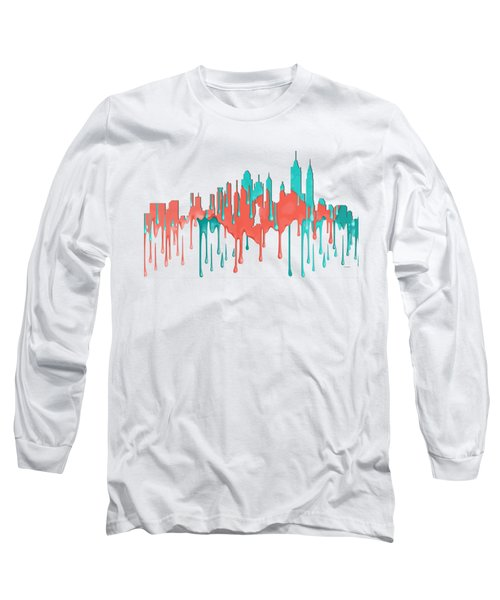 New York New York Skyline Long Sleeve T-Shirt by Marlene Watson