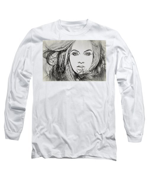 Adele Charcoal Sketch Long Sleeve T-Shirt by Dan Sproul