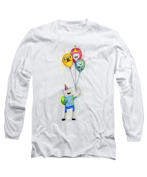 Adventure Time Finn With Birthday Balloons Jake Princess Bubblegum Bmo Long Sleeve T-Shirt by Olga Shvartsur