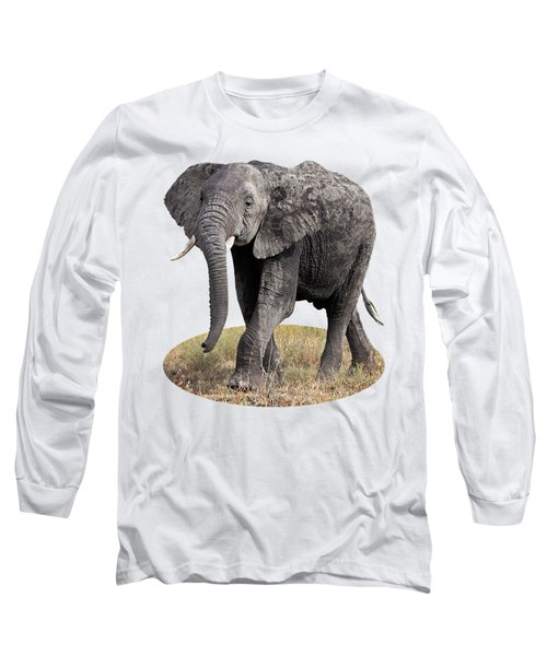 African Elephant Happy And Free Long Sleeve T-Shirt by Gill Billington