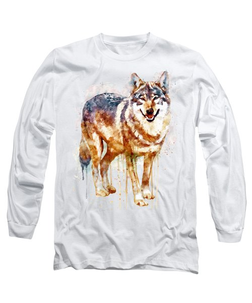 Alpha Wolf Long Sleeve T-Shirt by Marian Voicu