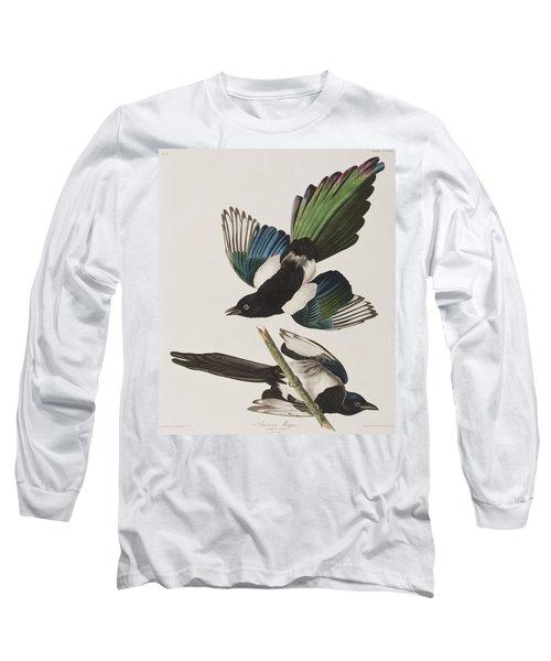 American Magpie Long Sleeve T-Shirt by John James Audubon