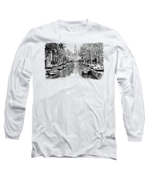 Amsterdam Canal 2 Black And White Long Sleeve T-Shirt by Marian Voicu