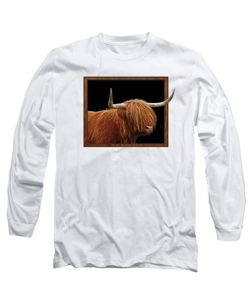 Bad Hair Day - Highland Cow - On Black Long Sleeve T-Shirt by Gill Billington
