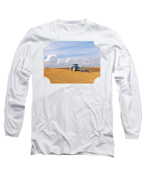 Ploughing After The Harvest Long Sleeve T-Shirt by Gill Billington