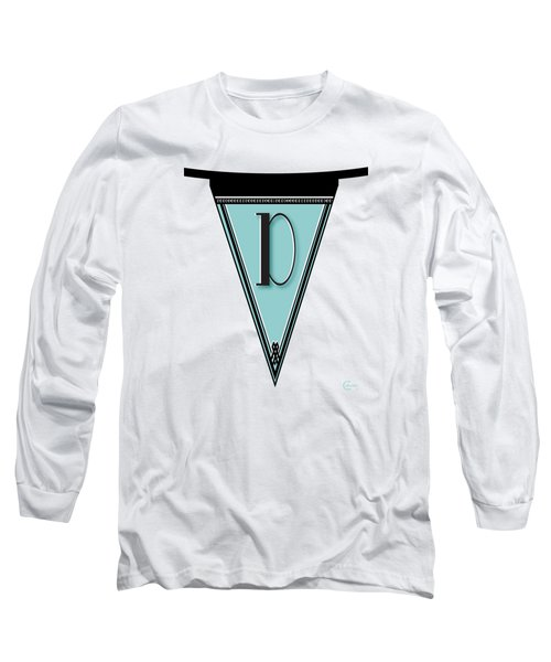 Pennant Deco Blues Banner Initial Letter D Long Sleeve T-Shirt by Cecely Bloom