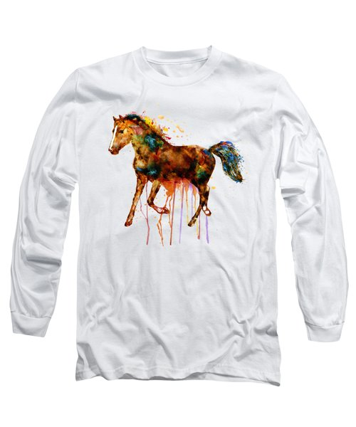 Watercolor Horse Long Sleeve T-Shirt by Marian Voicu